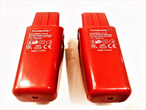PurrsianKitty 2-Pack 7.2V 1500mAh Ni-MH Replacement Battery for Ontel Swivel Sweeper G1 G2 G3 G6 G8 Max - Replaces Part # RU-RBG - Red