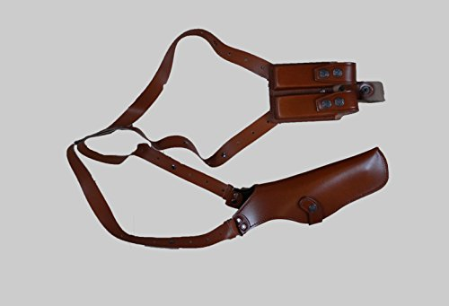 """ALIS453 Leather Vertical Shoulder Holster with Double Magazine Pouch Soft Fabric Interior Lining Colt Beretta CZ 75 Ruger Springfield up to 5"""" RH Handmade! (Brown)"""