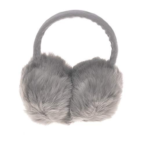 Pusheng Womens/Girls Cute Warm Faux Furry Earmuffs Winter Outdoor Adjustable EarMuffs (Gray)