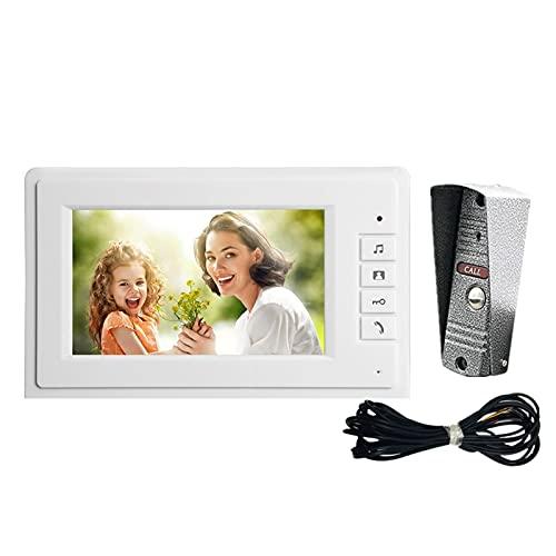 DNAMAZ Portero Sistema de intercomunicación de Puerta de Video con 7 Pulgadas HD Monitor 1200TVL Puerta de Timbre de la cámara de Soporte de la visión Nocturna Impermeable automatico (Color : Set 2)