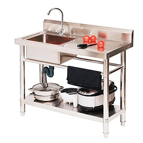 LXSNH Fregadero De Cocina, Fregadero De Cocina Móvil con Plataforma Izquierda/Derecha, Fregadero De Acero Inoxidable, para Hotel/Restaurante/Catering, Fácil De Limpiar