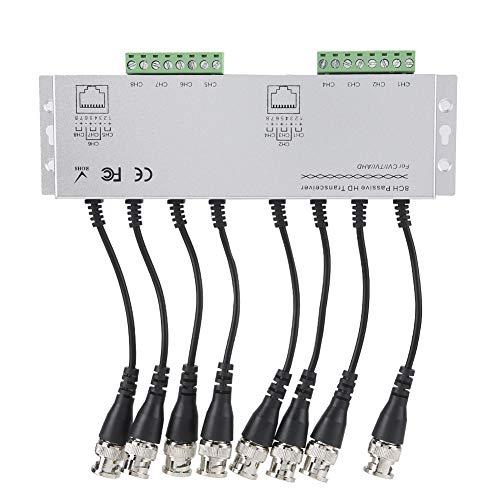 Balun de Video HD de 8 Canales BNC Macho a UTP Transceptor de Video Balun/Transmisor de Video CCTV Balun de Video pasivo Compatible con HD-CVI, HD-TVI, HD-AHD. hasta 250 m para cámaras AHD 1080P