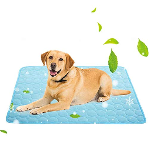 Cooling Mat for Dogs Cats Ice Silk Pet Self Cooling Pad Blanket for Pet Beds/Kennels/Couches /Car Seats/Floors(X-Large, Blue)