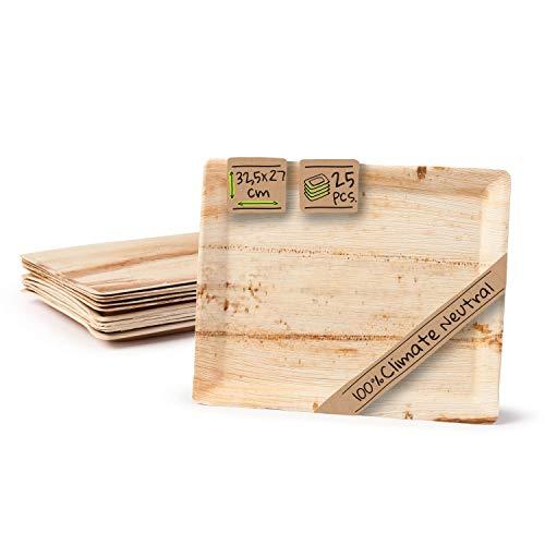 BIOZOYG Gastro Serviertablett Palmblattteller I umweltfreundlich - stabil - dekorativ I Servierplatte Kuchenplatte Einwegteller Partygeschirr Dekotablett I 25 x Gastrotablett 32,5 x 27cm
