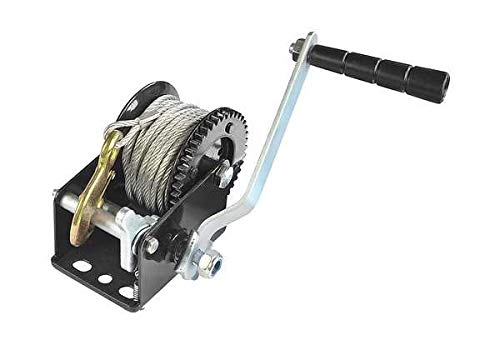 Capacity Heavy Duty Hand Winch, Hand Crank Strap Gear Winch with Steel Wire, Manual Operated Two-Way Ratchet ATV Boat Trailer Marine