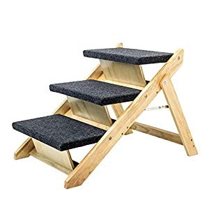 MEWANG Wood Pet Stairs/Pet Steps – Foldable 3LevelsDog Stairs &RampPerfect for Beds and Cars – PortableDog/Cat Ladder Up to 110 Pounds