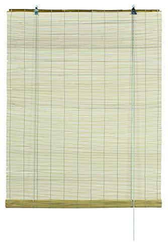 GARDINIA Bambus-Rollo Natur, Decken- oder Wandmontage, Lichtdurchlässig, Blickdicht, Alle Montage-Teile inklusive, 80 x 160 cm (BxH)