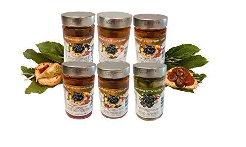 6 Gläser Bruschetta mit Kapern, Chili, Oliven, Caponata, Auberginen, Artischocken