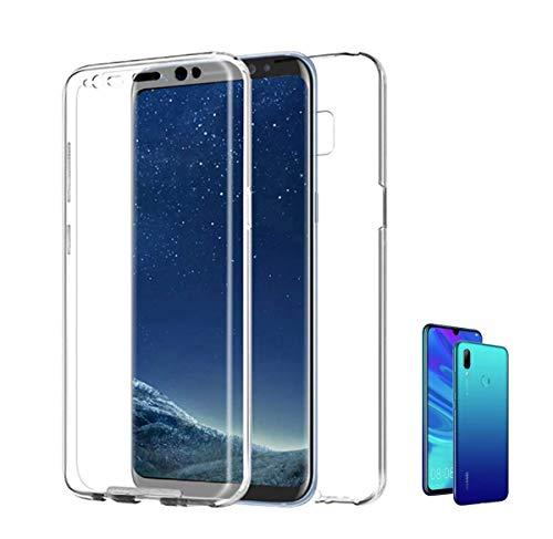 Compatible con [ Huawei P Smart 2019 y Huawei P Smart Plus 2019 ] (6,2 pulgadas) Funda 360 Carcasa doble cara 360 de Silicona Delantera + TRASERA tpu rigido DOBLE 100% TRANSPARENTE enteriza y completa
