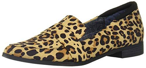 Dr. Scholl's Shoes Women's Leo Loafer, Tan/Black Leopard Microfiber, 10 M US
