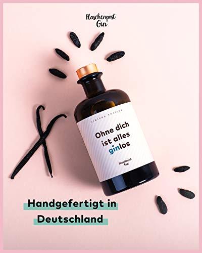 FLASCHENPOST GIN - Ohne dich ist alles ginlos - Love Edition - Handmade Deutscher Premium Gin mit warmen Noten von Vanille und Tonkabohne - 5