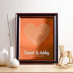 personalized 7th anniversary gift for him - copper print