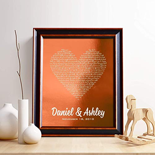 Personalized 7th or 22nd Copper Anniversary Gift for Him or Her, First...