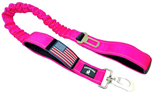 Tactical Bungee K9 Dog Leash - 1.5' INCH Wide Dog LEASHES for XL Dogs Heavy Duty Nylon Elastic Stretch Shock Absorbing Military Dogs Training LEASHES with Removable American Flag Patch (Pink, Solid)