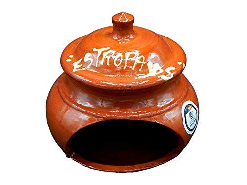 CERÁMICA RAMBLEÑA | Estropajero para estropajos en Barro Rojo | Organizador de Cocina | Porta estropajos | Estropajero cerámica | 100% Decorado a Mano | 13x13x14 cm