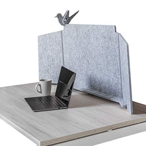 ECObird - Schreibtisch Trennwand - Organisieren, Personalisieren und Schützen Sie Ihren Arbeitsbereich, umweltfreundlicher Sichtschutz, 108 x 49 cm - Grau