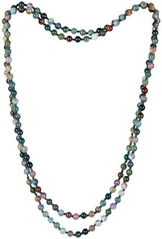 Cat Eye Jewels Long Beaded Necklace 8MM 59 Inch Indian Agate Semi Precious Multi Layered Mala product image