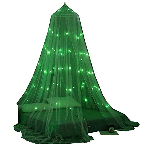 OctoRose Glow in The Dark Star Bed Canopy Mosquito Net| Fits Crib,Twin, Full, Queen, King and Calking. 23' Diameter on top, 98' high, 472' Around The Bottom (Black).