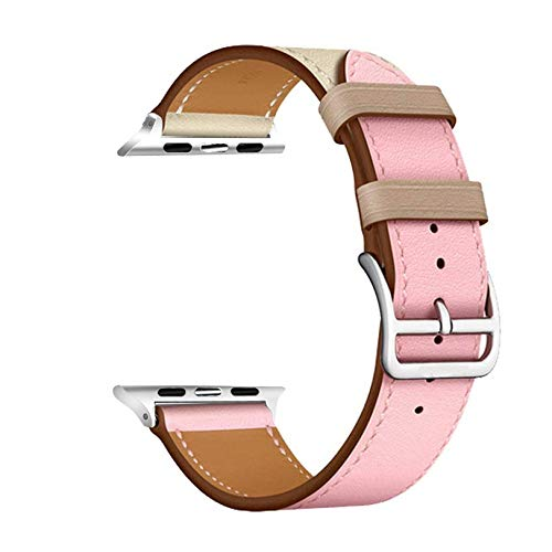 Watch Strap High Quality Leather Loop Watch Band Series5/4 3/2/1 Sport Bracelet 42 Mm 38 Mm Strap for 6 SE Band 40mm 44mm 1 (Band Color : Pink White)