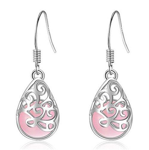 Boowhol Women's Earrings 925 Sterling Silver Moonlight Cat's Eye Drop Pendant Fashion Love Wishing Hypoallergenic Earring