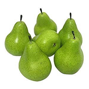 J-Rijzen 6pcs Fake Pears Artificial Fruits Vivid Green Pear for Home Fruit Shop Supermarket Desk Office Restaurant Decorations Or Props (Green)