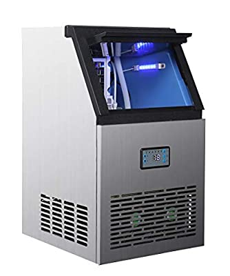 Commercial Ice Machine 88lbs/24h with 24lbs Storage, 40 Ice Cubes Ready in 12-18 Mins Freestanding Large Stainless Steel Ice Maker for Restaurant/Bar/Supermarkets