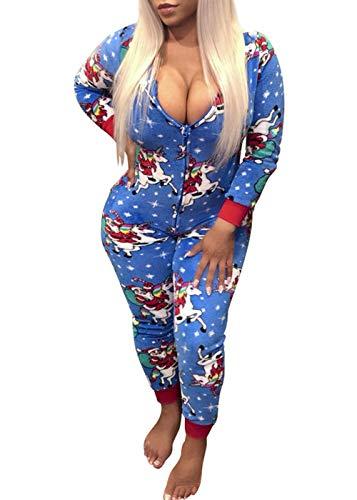 Women's One Piece Onsie Print Sleepwear Ugly Christmas Pajamas Jumpsuit Rompers Clubwear Nightwear (Blue, XXL(US 16-18))