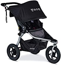 BOB Gear Rambler Jogging Stroller | Smooth Ride Suspension + Easy Fold + XL Canopy Coverage, Black [New Logo]