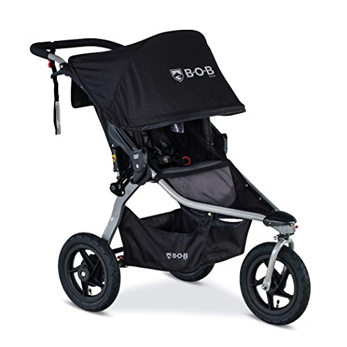 BOB Gear Rambler Jogging Stroller in Black | Smooth Ride Suspension + Easy Fold + XL Canopy Coverage [New Logo]