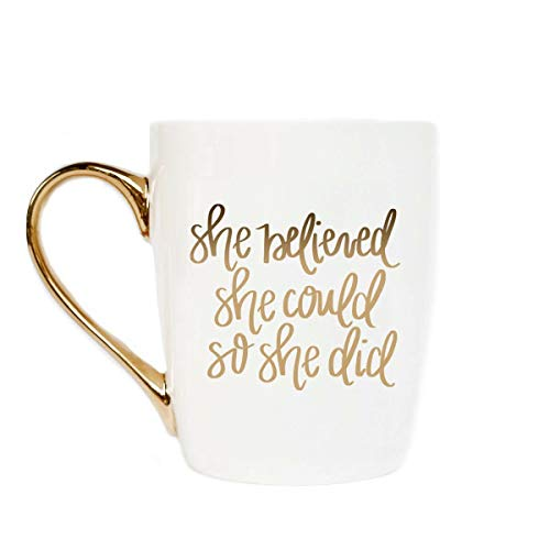 Cute Coffee Mug with Golden Handle | She Believed She Could So She Did Inspirational Coffee Mug