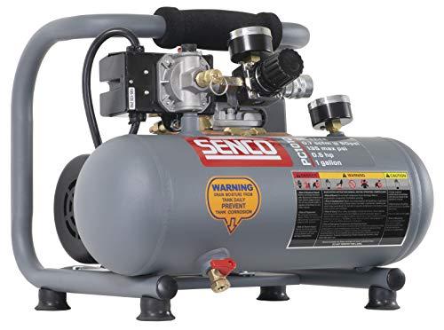 Senco PC1010 1/2- Horsepower 1-Gallon Matte Finish and Trim Portable Hot Dog Air Compressor, Gray/Red