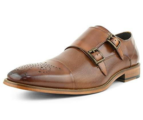 Asher Green AG1101 – Men's Dress Shoes, Formal Mens Shoes – Genuine Calf Leather Shoes for Men – Cap Toe Double Monk Strap – Color: Tan Cognac, Size: 9.5