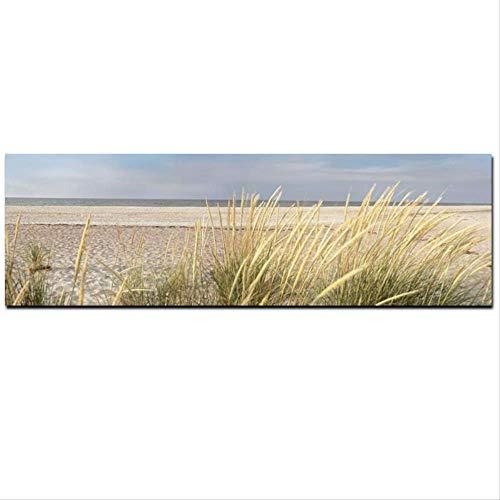 Canvas Art Aan De Muur Zeegezicht Strand Landschapsschilderkunst Poster Hd Print Sky Island Duin Staart Gras Muur Woonkamer Foto 60X180 Cm Ingelijste