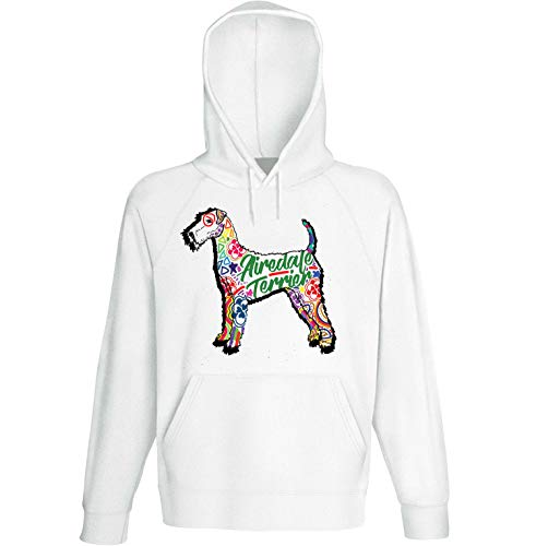 teesquare1st Men's Airedale Terrier c White Hoodie Size Large