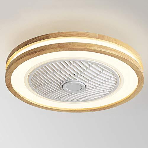 OUJIE Lámpara De Madera para Ventilador De Techo con Iluminación, LED De 32 W con Control Remoto/Aplicación Móvil, Velocidad Y Atenuación del Viento Ajustables, Techo Ultra Silenciosa,Round Style 1