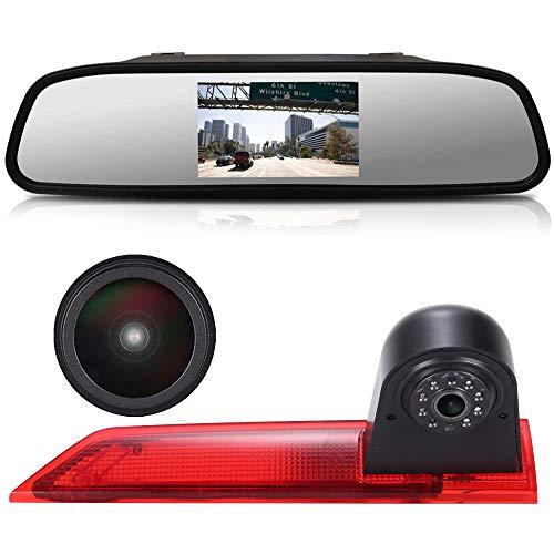 4,3 Zoll Rückspiegel Monitor +1280x720pixel 1000TV Linien Rückfahrkamera integriert in 3. Bremslicht dritte Bremsleuchte Kamera for Ford Transit Custom 2012-2016 Transporter Business MPV SUV Bus