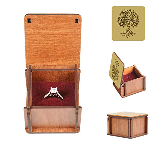 LUCCE Ring Box for Proposal - Golden Tree Of Life Pattern Jewelry Box - Wooden Storage Box with Ring Bearer and Perfect for Proposal, Wedding, Engagement - Jewelry Gift Box