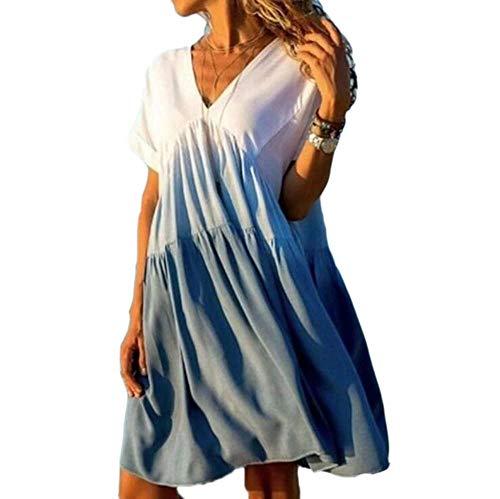 Babao vrouwen korte mouw V-hals jurk verloop kleur jurk