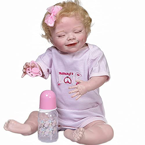 22inch Weighted Full Body Silicone Reborn Baby Dolls Realistic Anatomically Correct Real Girl ,Handmade Lifelike Eyes Closed,Multicolor