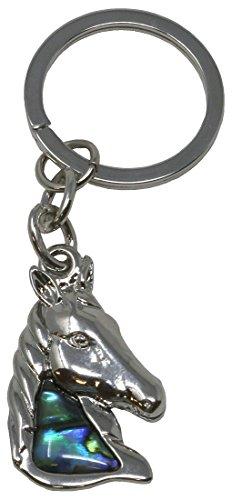 Schlüsselanhänger Pferdekopf, Paua Muschel, 8 cm/Perlmutt Pferd