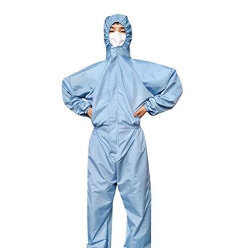 Exceart Tuta Protettiva in Poliestere Cappuccio Riutilizzabile Tuta Antistatica Tuta Antipolvere Protezione Industriale Indumenti da Lavoro con Cappuccio per Lavoro All'aperto - Taglia XXL (Blu)
