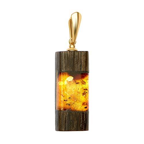 ANDANTE Premium Collection Master of Zen - Ciondolo per collana in vera ambra naturale orientale, oro 23 carati, argento Sterling 925 e rovere nero, certificato