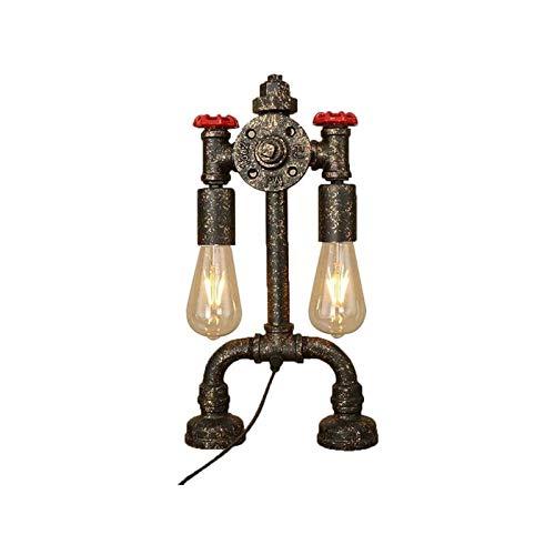YXX Lámpara de Mesa Retro, Estilo Retro Industrial Robot de Hierro de Hierro Tubo de plomería Lámpara de Mesa de Mesa con Mango de válvula roja y Interruptor, E27 (bulbos no incluidos), luz de Noche