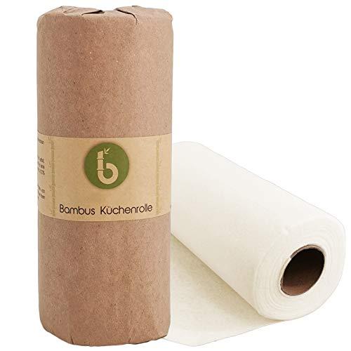 Bambus Allzwecktücher - Küchenrolle - waschbare Haushaltstücher - extrem Saugstark und Reißfester als normale Küchentücher - ersetzt bis zu 60 Haushaltsrollen - 1 Rolle