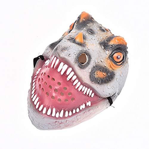 QinMM Dinosaurier Maske Halloween Masquerade Festival Emulsion Realistische Kostüm Spielzeug Dress Up Requisiten Creepy Fantasy Zubehör (Grau)