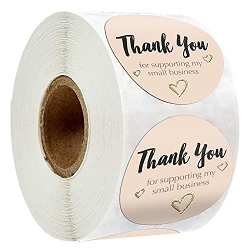 Klistermärke 500 st tack klistermärken för att stödja mina småföretagstätningsetiketter för handgjorda bakpaket Presentkort Etikettklistermärke (Color : 500 pcs)