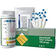 EASYTEST 6-Way Aquarium Test Strips for Fresh/Salt Water, Fast and Accurate Quality Testing for Nitrate, Nitrite, General Hardness, Free Chlorine,PH, Carbonate. 100 Counts
