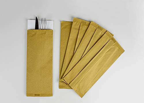 Palucart 1000 Buste portaposate Colore Avana Carta Paglia con tovagliolo Doppio Velo