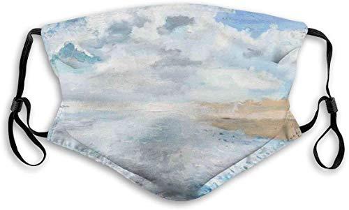 Moda cómoda a prueba de viento, estilo de pintura al óleo, ilustración de un hombre en la playa en un día nublado, decoraciones faciales impresas para unisex M