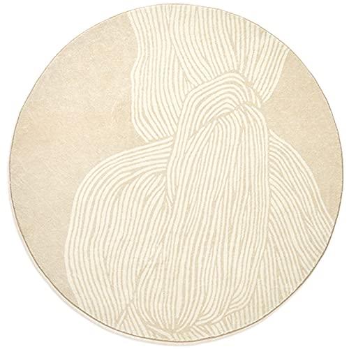 Alfombras de área de Estilo Simple Niña Vista Posterior Patrón Abstracto Alfombra Redonda Alfombrilla Lavable con Diseño de Bordes de Hilo 3 Tamaños(Size:150 cm/59 Inches)